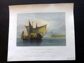 After Cotman 1834 Hand Col Print. Boats of the Coast of Yarmouth, Norfolk